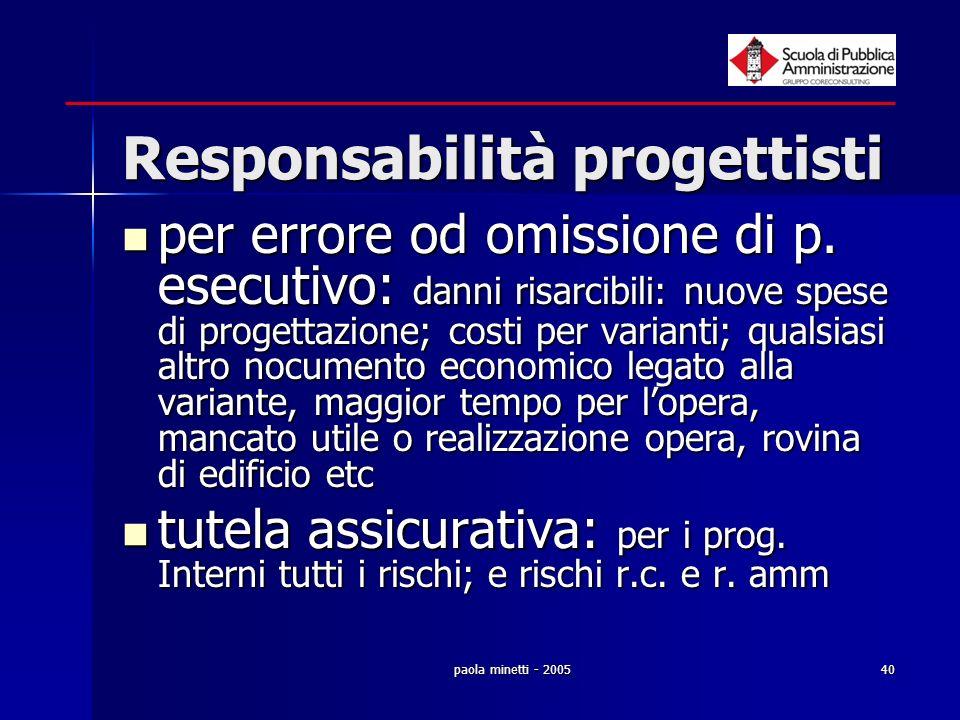 paola minetti - 200540 Responsabilità progettisti per errore od omissione di p. esecutivo: danni risarcibili: nuove spese di progettazione; costi per