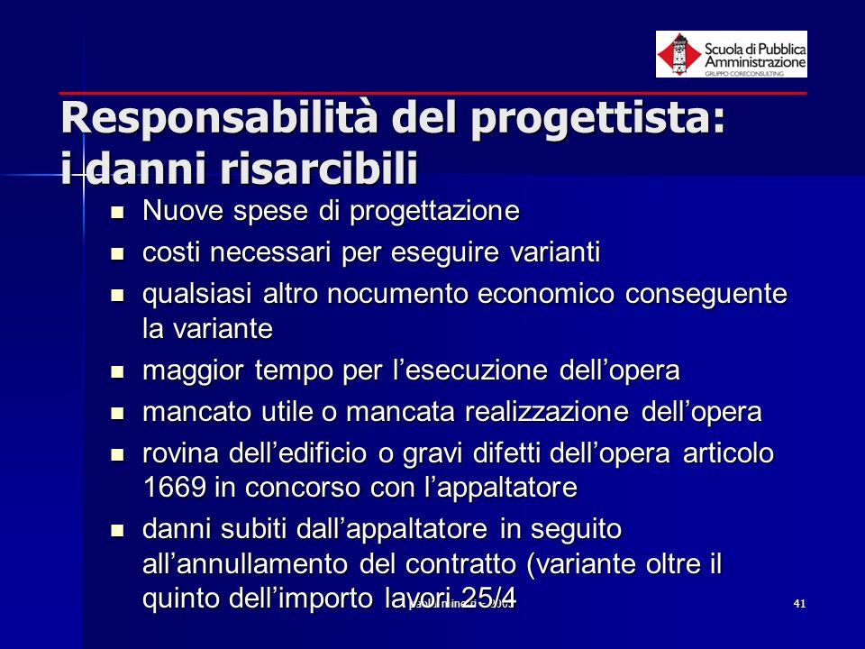 paola minetti - 200541 Responsabilità del progettista: i danni risarcibili Nuove spese di progettazione Nuove spese di progettazione costi necessari p