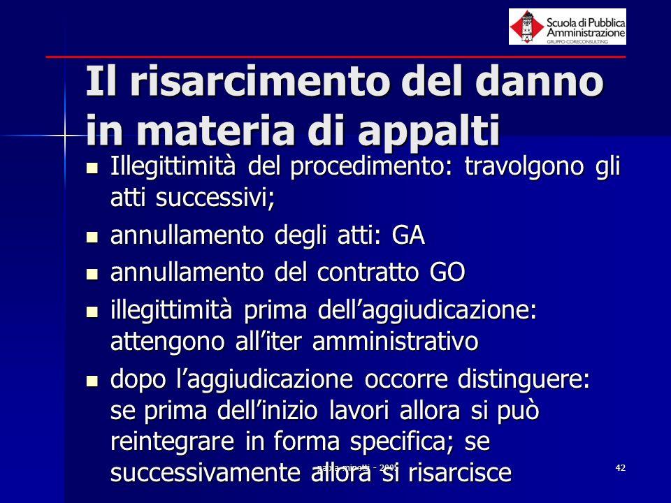paola minetti - 200542 Il risarcimento del danno in materia di appalti Illegittimità del procedimento: travolgono gli atti successivi; Illegittimità d