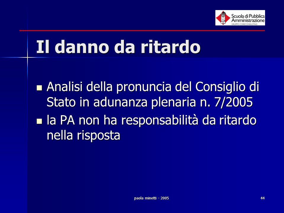 paola minetti - 200544 Il danno da ritardo Analisi della pronuncia del Consiglio di Stato in adunanza plenaria n. 7/2005 Analisi della pronuncia del C