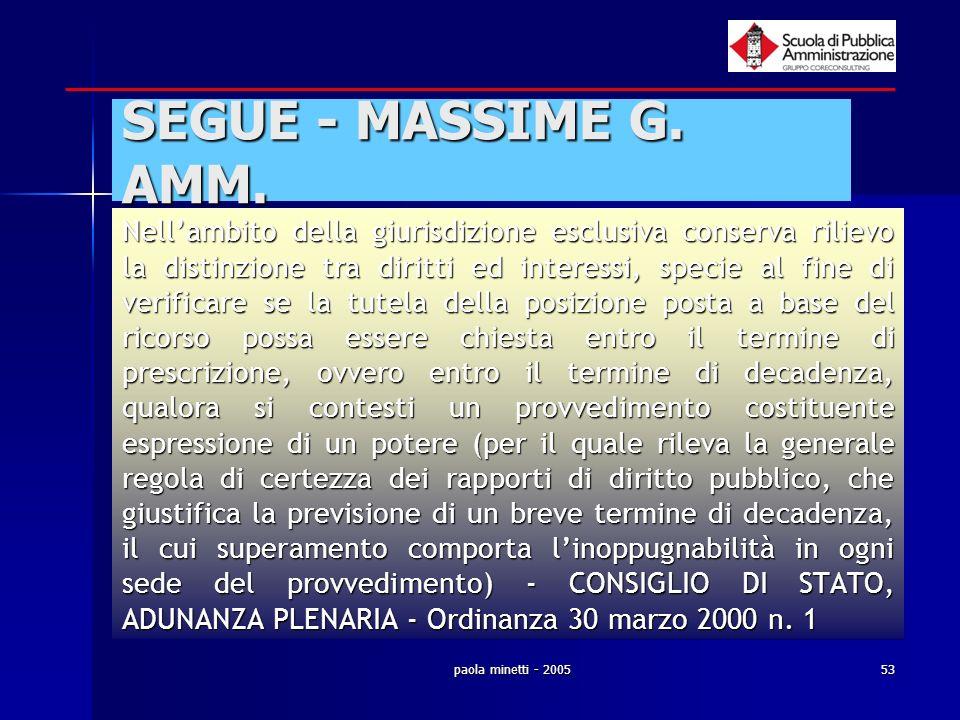 paola minetti - 200553 SEGUE - MASSIME G. AMM. Nellambito della giurisdizione esclusiva conserva rilievo la distinzione tra diritti ed interessi, spec