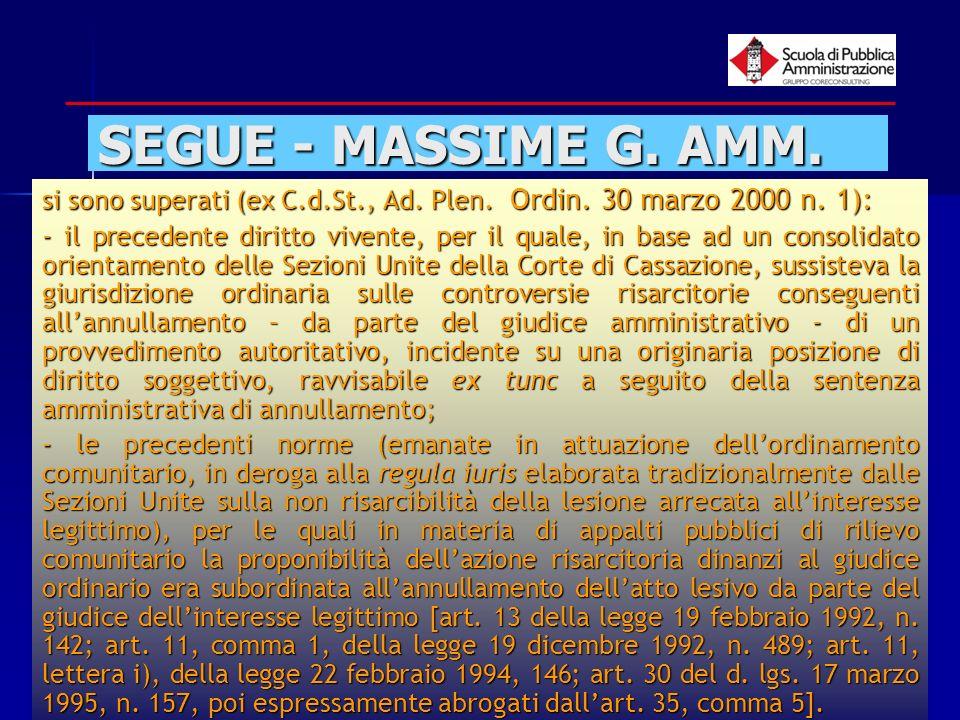 paola minetti - 200556 SEGUE - MASSIME G. AMM. si sono superati (ex C.d.St., Ad. Plen. Ordin. 30 marzo 2000 n. 1): - il precedente diritto vivente, pe
