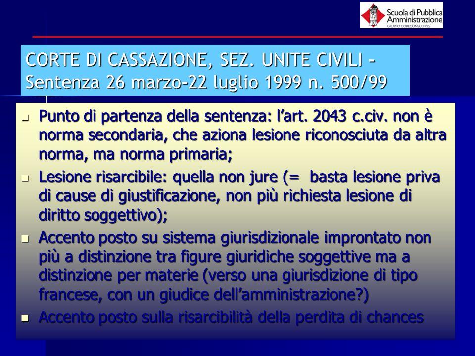 paola minetti - 20059 CORTE DI CASSAZIONE, SEZ. UNITE CIVILI - Sentenza 26 marzo-22 luglio 1999 n. 500/99 Punto di partenza della sentenza: lart. 2043