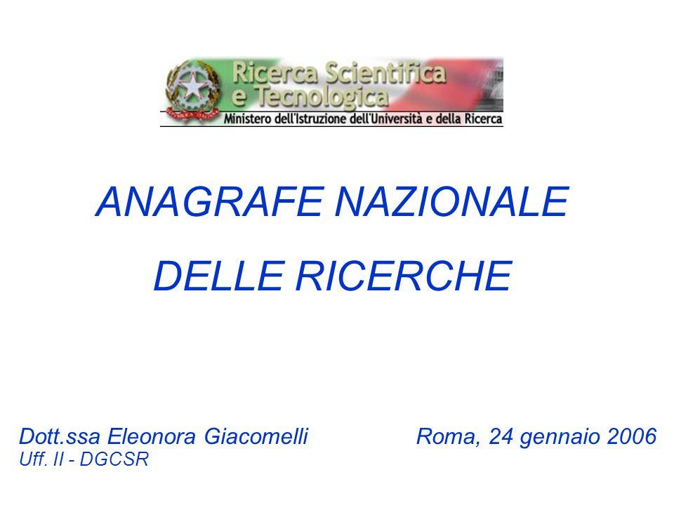ANAGRAFE NAZIONALE DELLE RICERCHE Dott.ssa Eleonora GiacomelliRoma, 24 gennaio 2006 Uff. II - DGCSR