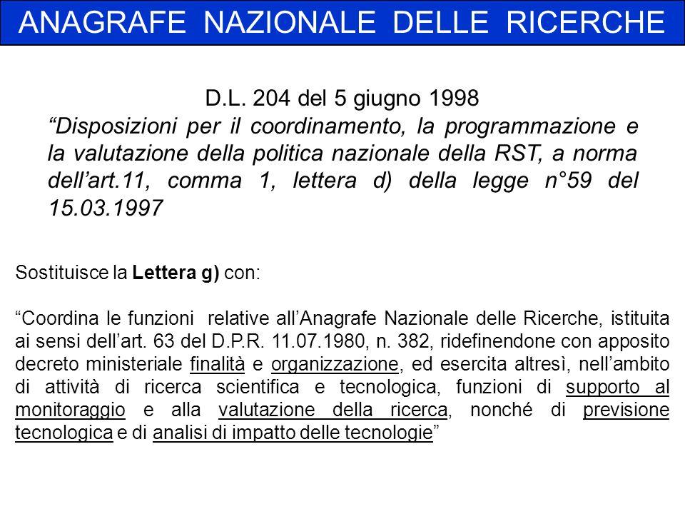 Sostituisce la Lettera g) con: Coordina le funzioni relative allAnagrafe Nazionale delle Ricerche, istituita ai sensi dellart.
