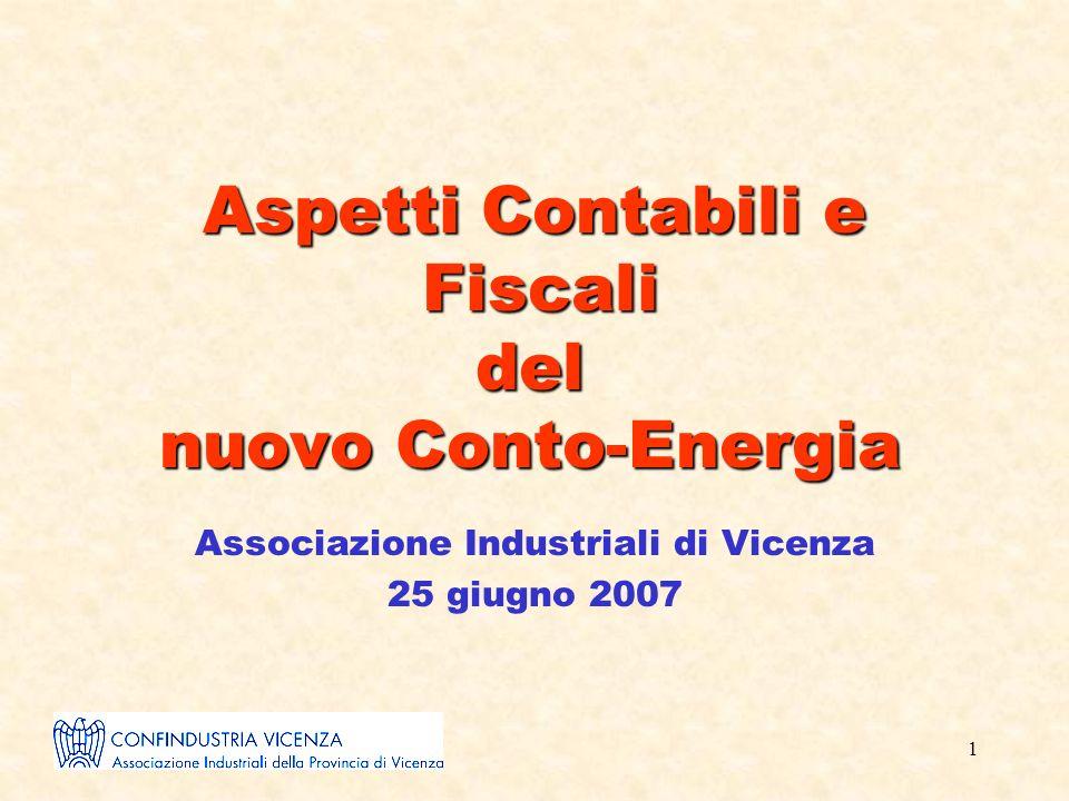 1 Aspetti Contabili e Fiscali del nuovo Conto-Energia Associazione Industriali di Vicenza 25 giugno 2007