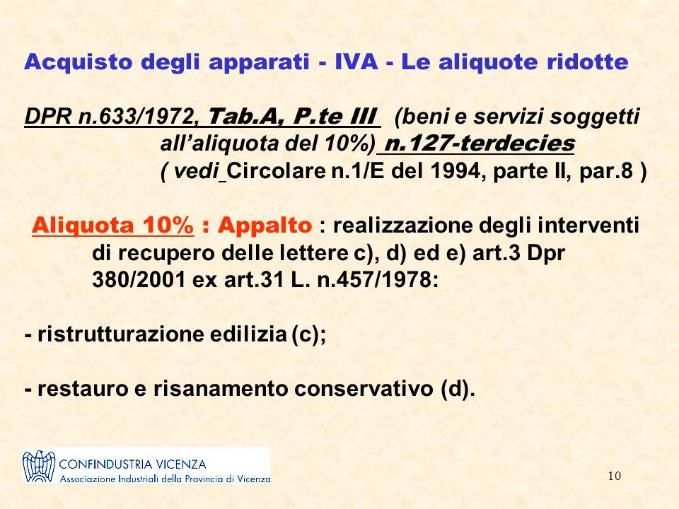 10 Acquisto degli apparati - IVA - Le aliquote ridotte DPR n.633/1972, Tab.A, P.te III (beni e servizi soggetti allaliquota del 10%) n.127-terdecies ( vedi Circolare n.1/E del 1994, parte II, par.8 ) Aliquota 10% : Appalto : realizzazione degli interventi di recupero delle lettere c), d) ed e) art.3 Dpr 380/2001 ex art.31 L.