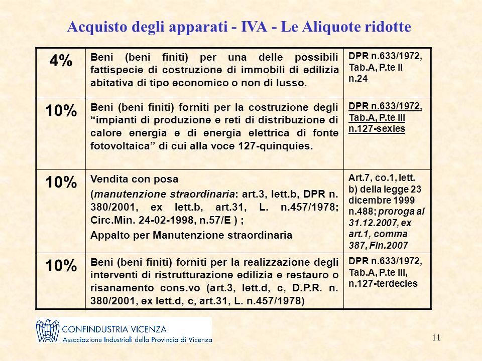 11 Acquisto degli apparati - IVA - Le Aliquote ridotte 4% Beni (beni finiti) per una delle possibili fattispecie di costruzione di immobili di edilizia abitativa di tipo economico o non di lusso.