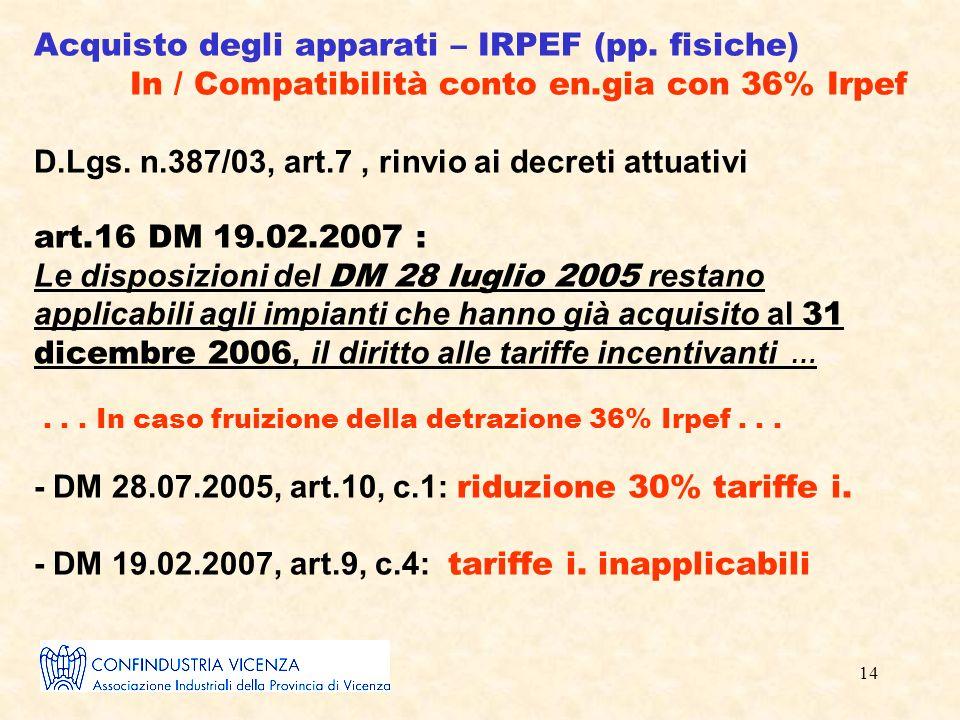 14 Acquisto degli apparati – IRPEF (pp.