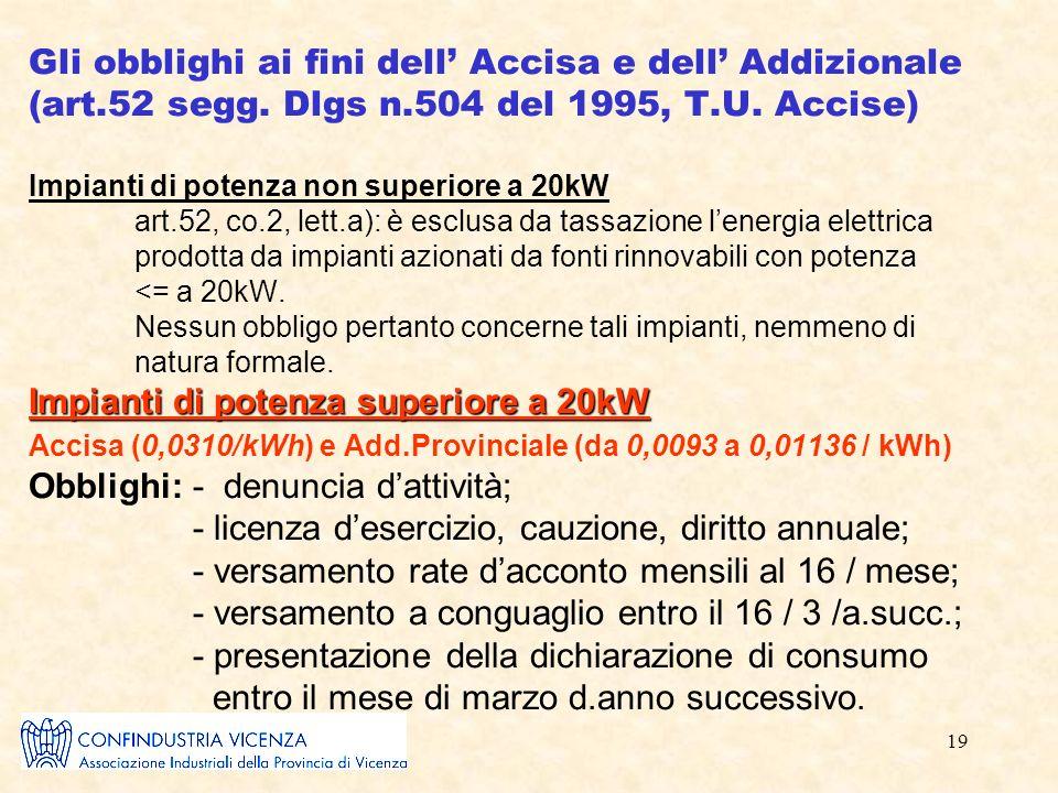 19 Impianti di potenza superiore a 20kW Gli obblighi ai fini dell Accisa e dell Addizionale (art.52 segg.