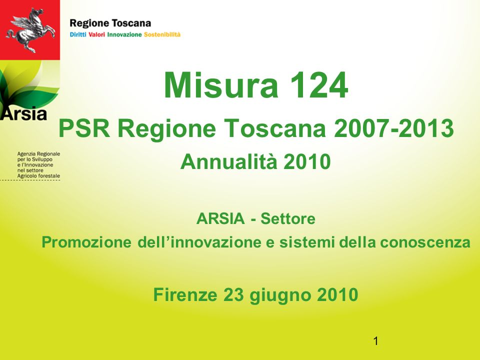 1 Misura 124 PSR Regione Toscana 2007-2013 Annualità 2010 ARSIA - Settore Promozione dellinnovazione e sistemi della conoscenza Firenze 23 giugno 2010