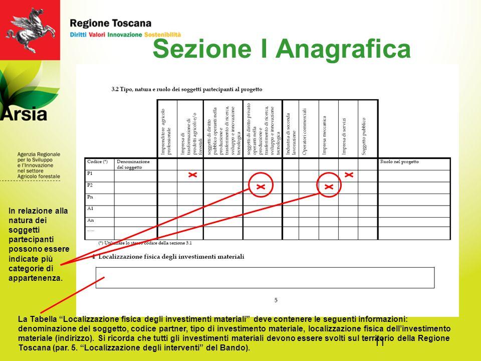 11 Sezione I Anagrafica In relazione alla natura dei soggetti partecipanti possono essere indicate più categorie di appartenenza.
