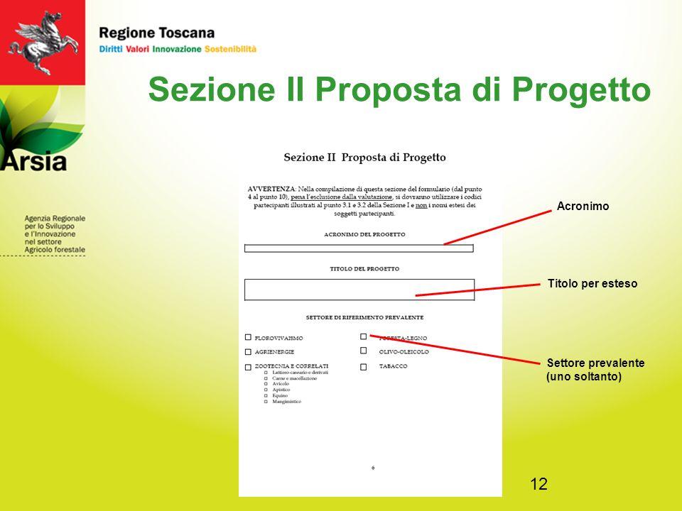 12 Sezione II Proposta di Progetto Titolo per esteso Acronimo Settore prevalente (uno soltanto)