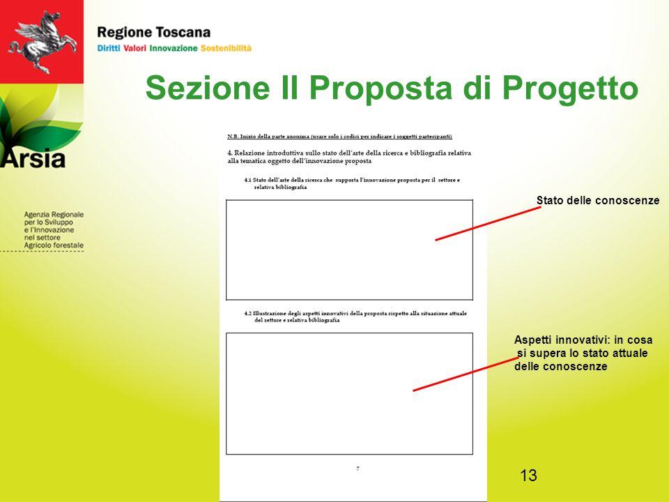 13 Sezione II Proposta di Progetto Stato delle conoscenze Aspetti innovativi: in cosa si supera lo stato attuale delle conoscenze