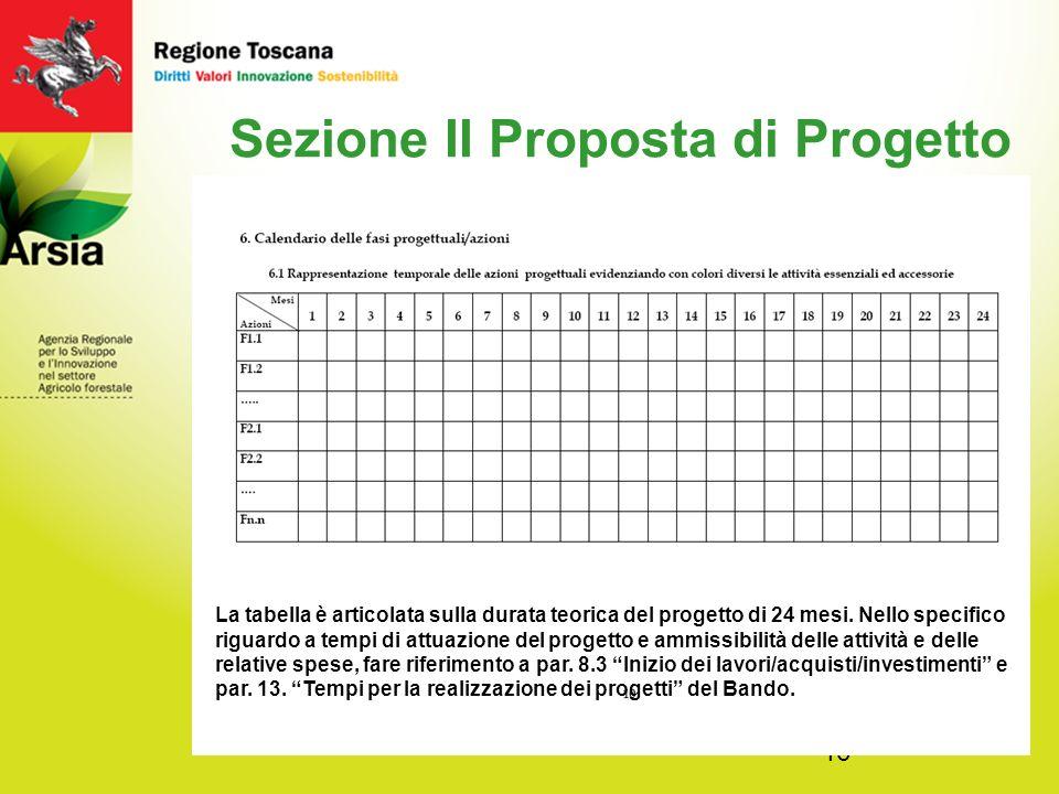 16 Sezione II Proposta di Progetto La tabella è articolata sulla durata teorica del progetto di 24 mesi.