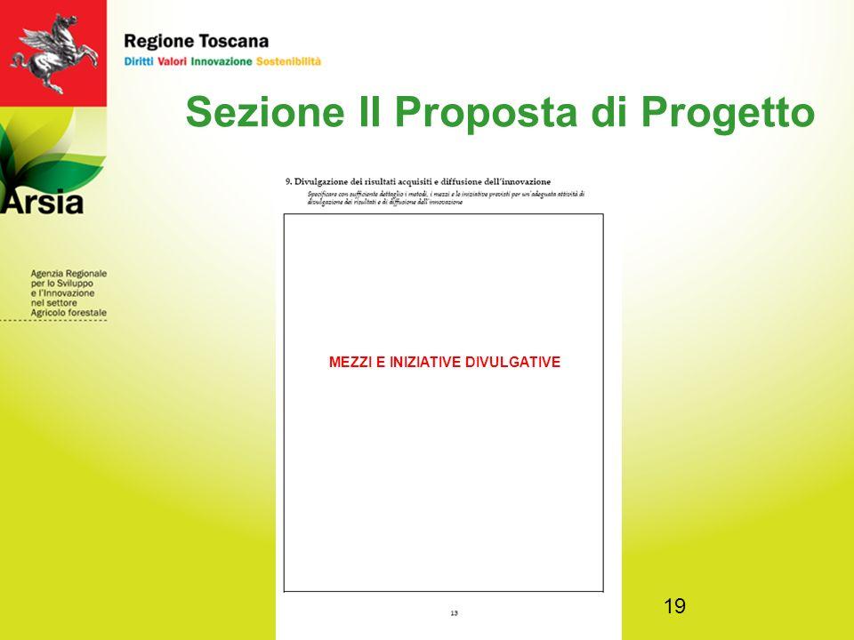 19 Sezione II Proposta di Progetto MEZZI E INIZIATIVE DIVULGATIVE