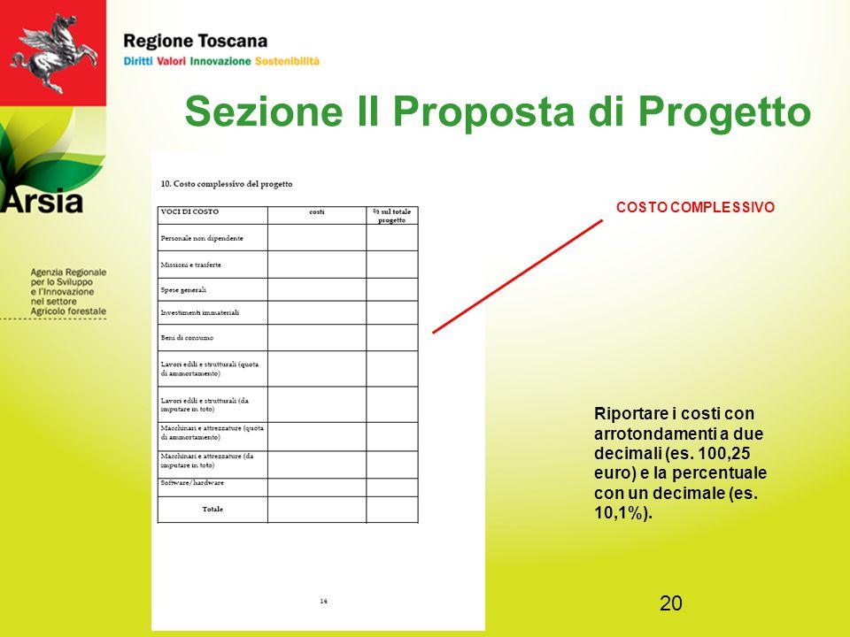 20 Sezione II Proposta di Progetto Riportare i costi con arrotondamenti a due decimali (es.