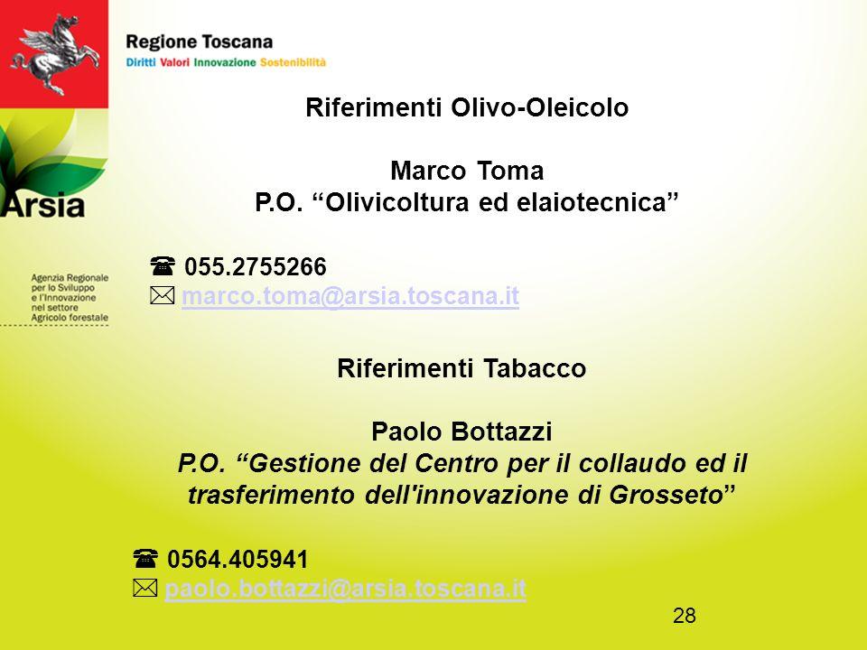28 Riferimenti Olivo-Oleicolo Marco Toma P.O.