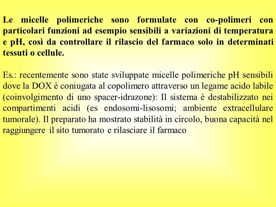 Le micelle polimeriche sono formulate con co-polimeri con particolari funzioni ad esempio sensibili a variazioni di temperatura e pH, così da controll