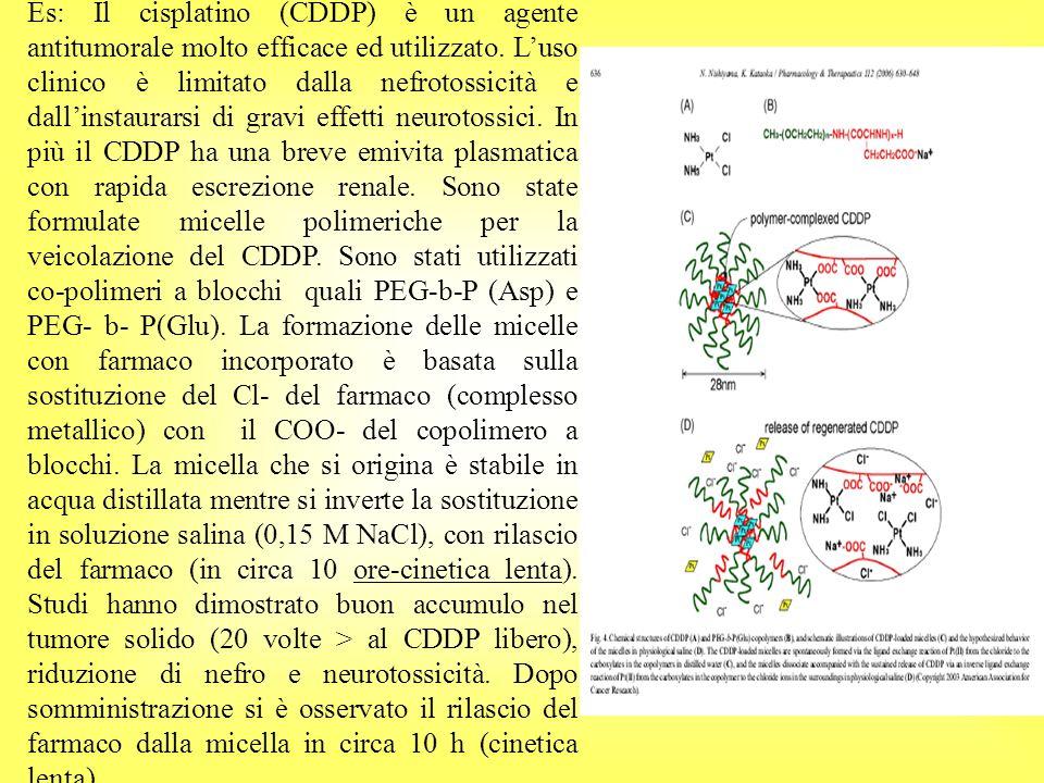 Es: Il cisplatino (CDDP) è un agente antitumorale molto efficace ed utilizzato. Luso clinico è limitato dalla nefrotossicità e dallinstaurarsi di grav