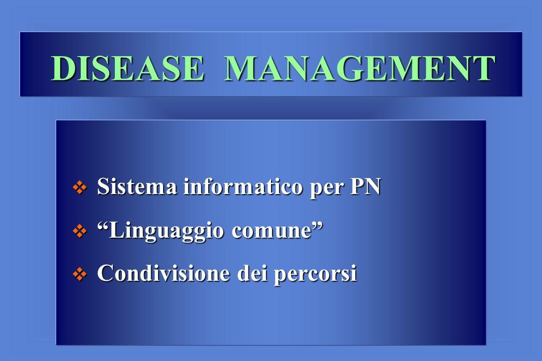 DISEASE MANAGEMENT Sistema informatico per PN Sistema informatico per PN Linguaggio comune Linguaggio comune Condivisione dei percorsi Condivisione dei percorsi