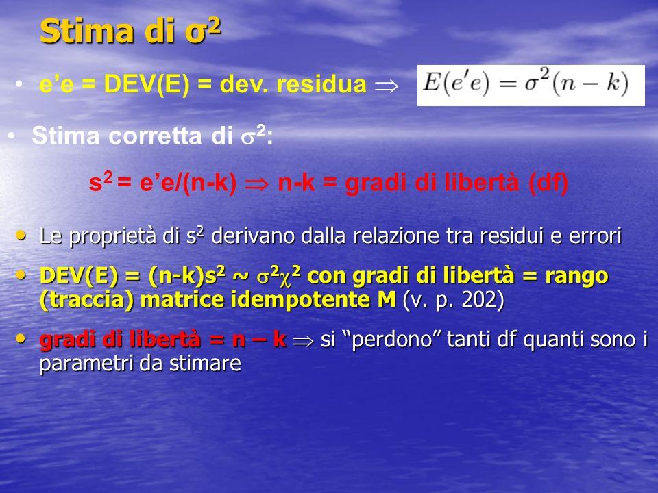 Stima di σ 2 Le proprietà di s 2 derivano dalla relazione tra residui e errori Le proprietà di s 2 derivano dalla relazione tra residui e errori DEV(E) = (n-k)s 2 ~ 2 2 con gradi di libertà = rango (traccia) matrice idempotente M (v.