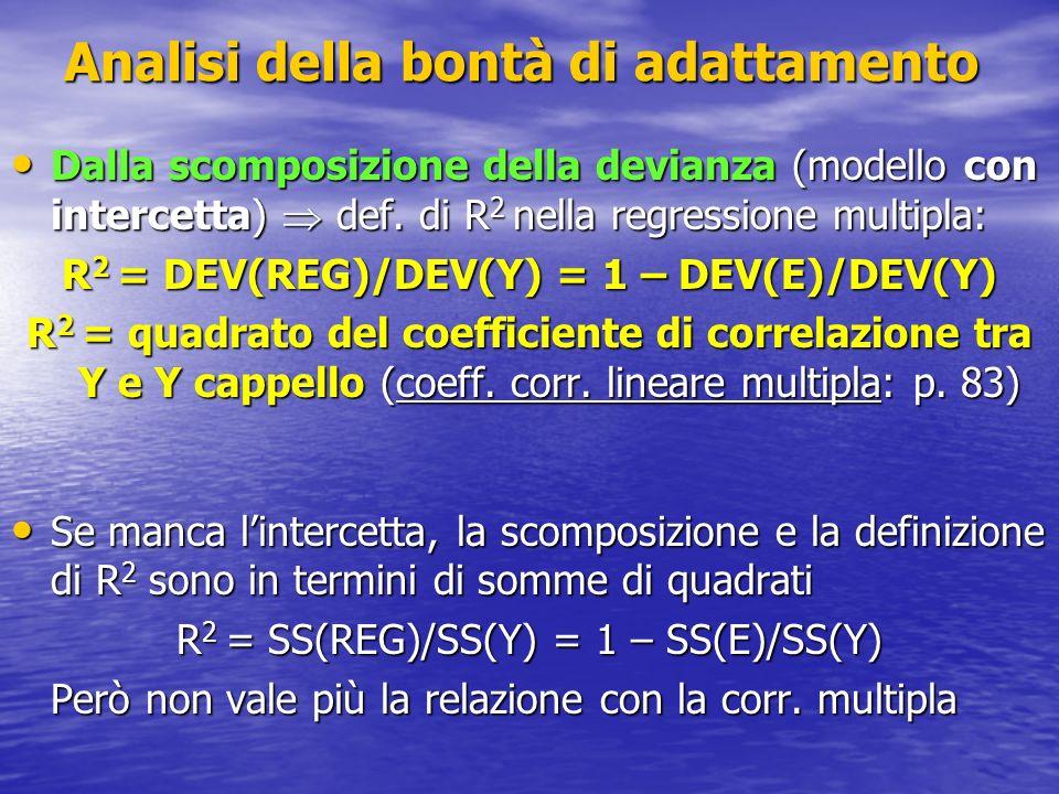 Analisi della bontà di adattamento Dalla scomposizione della devianza (modello con intercetta) def. di R 2 nella regressione multipla: Dalla scomposiz