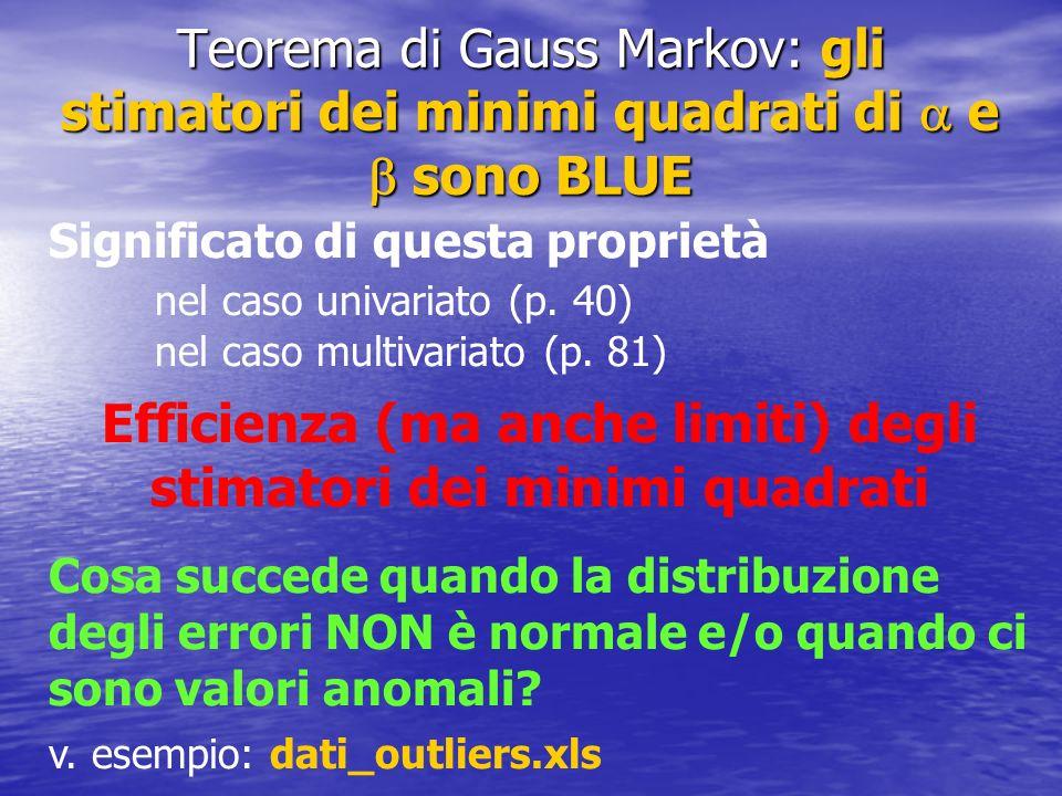 Teorema di Gauss Markov: gli stimatori dei minimi quadrati di e sono BLUE Significato di questa proprietà nel caso univariato (p. 40) nel caso multiva