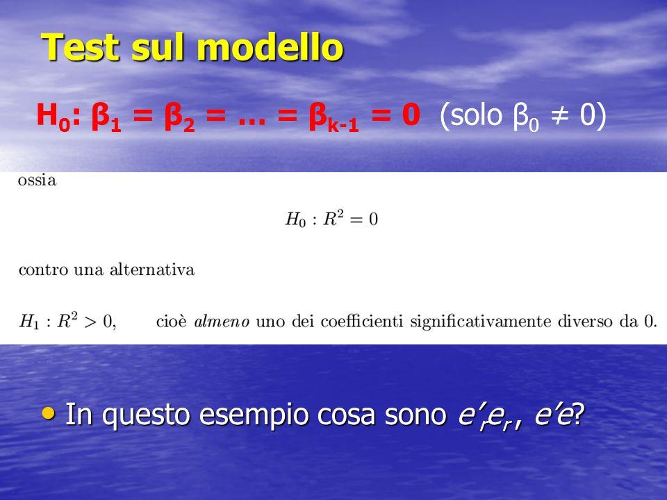 Test sul modello In questo esempio cosa sono e r e r, ee? In questo esempio cosa sono e r e r, ee? H 0 : β 1 = β 2 = … = β k-1 = 0 (solo β 0 0)