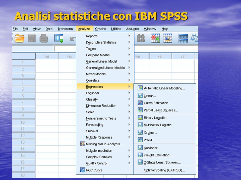 Analisi statistiche con IBM SPSS