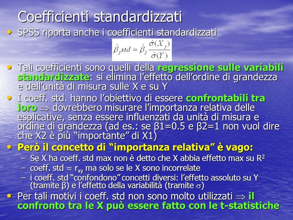 Coefficienti standardizzati SPSS riporta anche i coefficienti standardizzati SPSS riporta anche i coefficienti standardizzati Tali coefficienti sono q