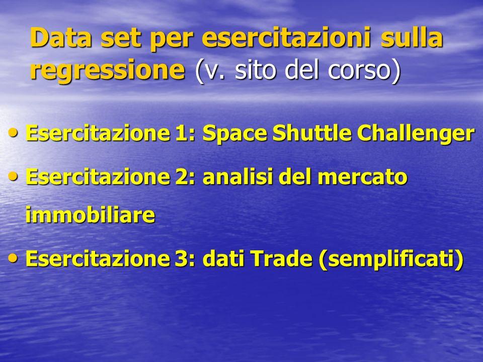 Data set per esercitazioni sulla regressione (v. sito del corso) Esercitazione 1: Space Shuttle Challenger Esercitazione 1: Space Shuttle Challenger E