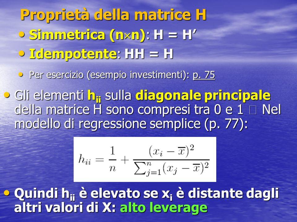 Proprietà della matrice H Simmetrica (n n): H = H Simmetrica (n n): H = H Idempotente: HH = H Idempotente: HH = H Per esercizio (esempio investimenti)