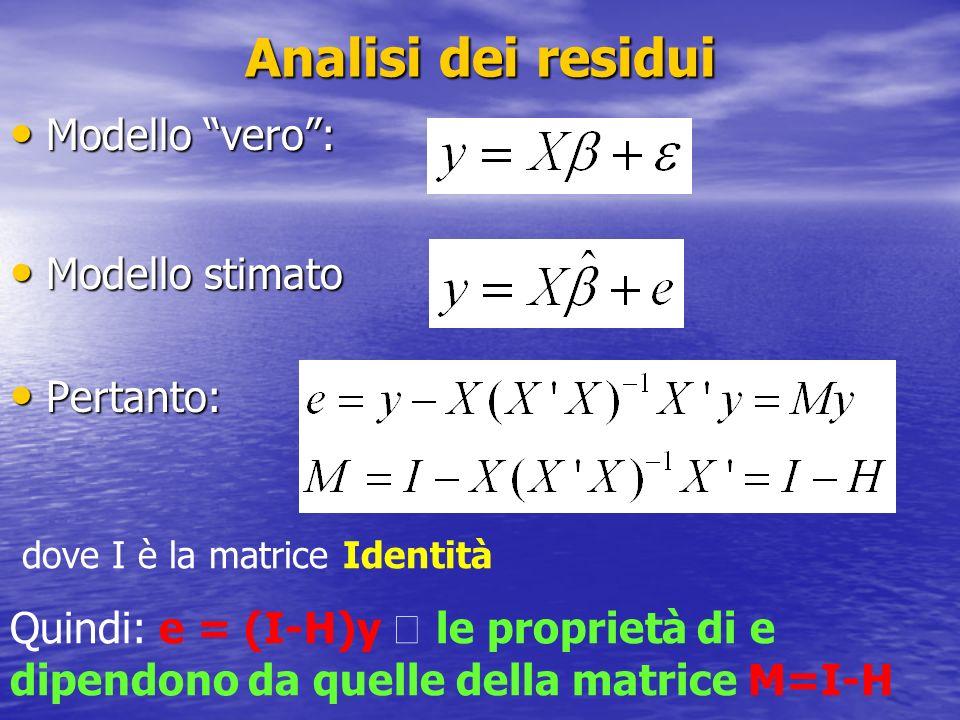 Analisi dei residui Modello vero: Modello vero: Modello stimato Modello stimato Pertanto: Pertanto: dove I è la matrice Identità Quindi: e = (I-H)y le proprietà di e dipendono da quelle della matrice M=I-H