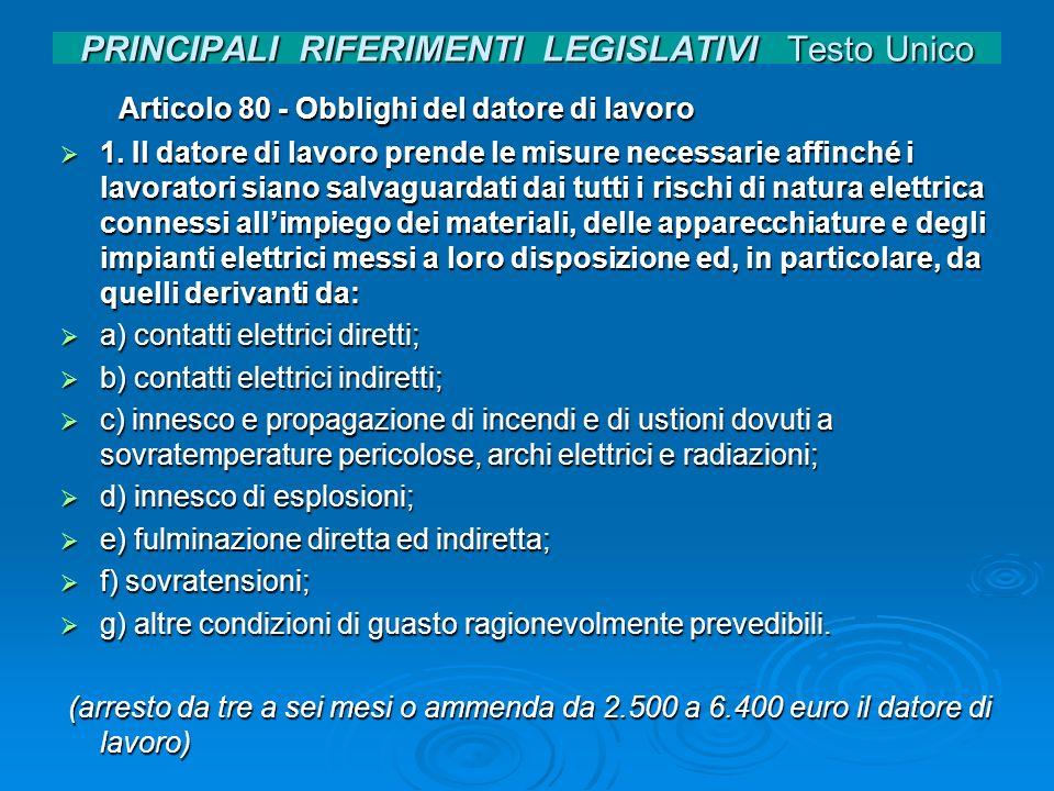 PRINCIPALI RIFERIMENTI LEGISLATIVI Testo Unico Articolo 80 - Obblighi del datore di lavoro Articolo 80 - Obblighi del datore di lavoro 1. Il datore di