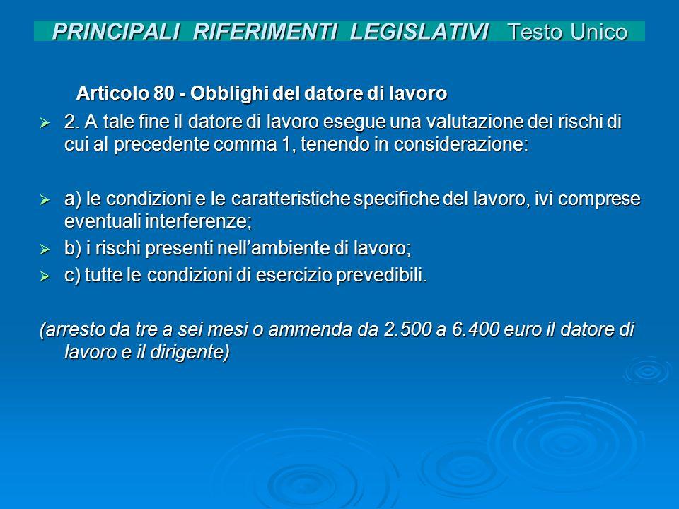 PRINCIPALI RIFERIMENTI LEGISLATIVI Testo Unico Articolo 80 - Obblighi del datore di lavoro Articolo 80 - Obblighi del datore di lavoro 2. A tale fine