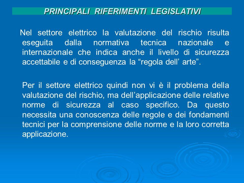 PRINCIPALI RIFERIMENTI LEGISLATIVI Nel settore elettrico la valutazione del rischio risulta eseguita dalla normativa tecnica nazionale e internazional
