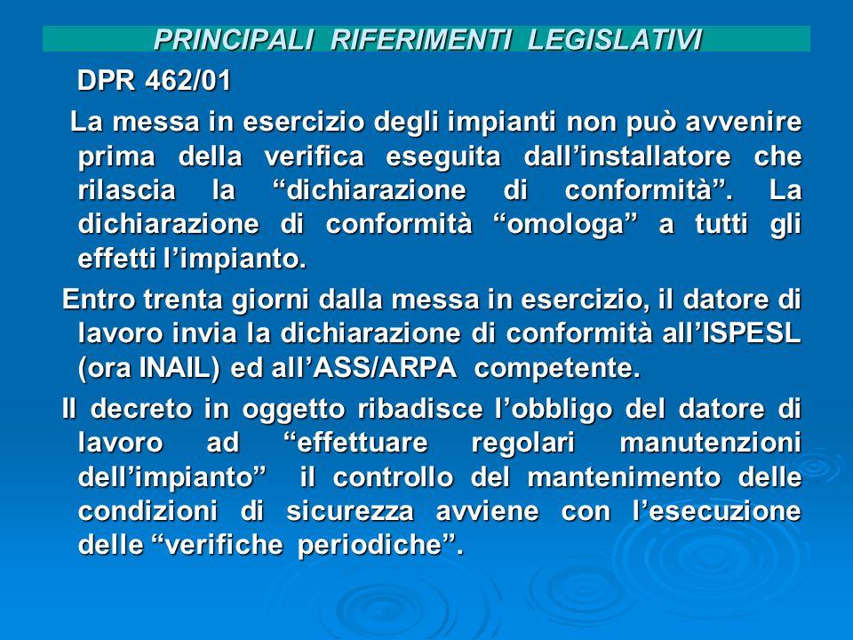 PRINCIPALI RIFERIMENTI LEGISLATIVI DPR 462/01 DPR 462/01 La messa in esercizio degli impianti non può avvenire prima della verifica eseguita dallinsta