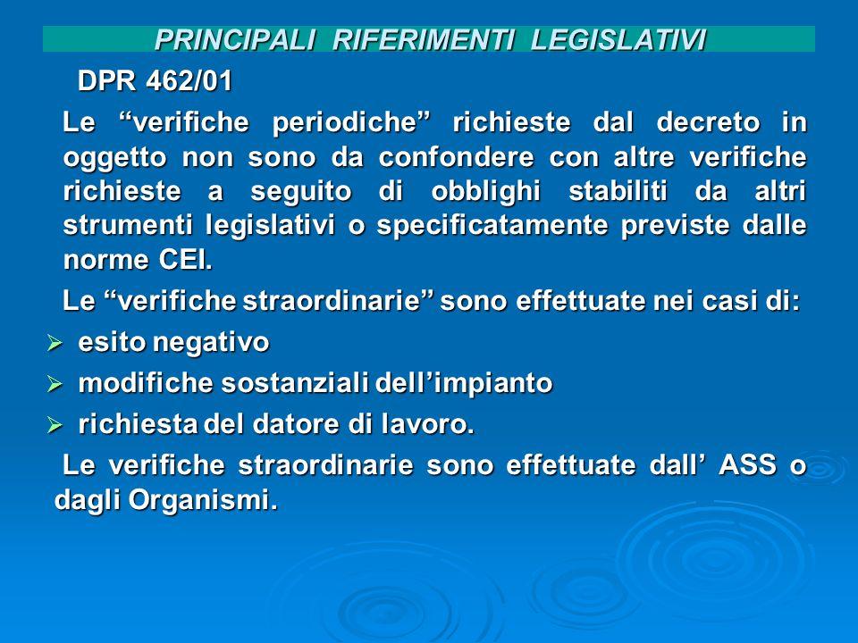 PRINCIPALI RIFERIMENTI LEGISLATIVI DPR 462/01 DPR 462/01 Le verifiche periodiche richieste dal decreto in oggetto non sono da confondere con altre ver