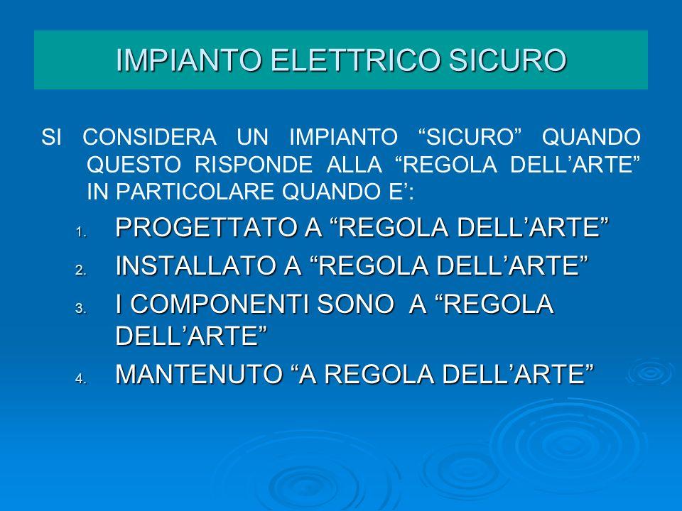 IMPIANTO ELETTRICO - LEGISLAZIONE La direttiva bassa tensione stabilisce che ciascun prodotto elettrico deve essere fornito sia di marcatura CE che di targa con i dati caratteristici del costruttore e i parametri elettrici per un suo corretto uso IMPIANTO ELETTRICO LEGISLAZIONE