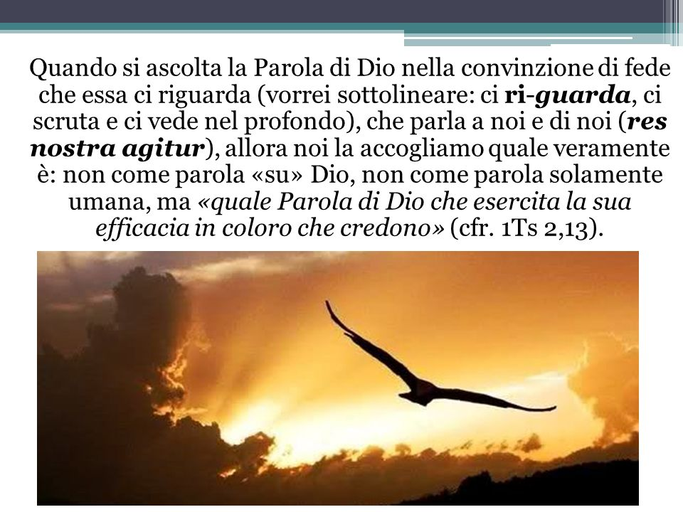 Quando si ascolta la Parola di Dio nella convinzione di fede che essa ci riguarda (vorrei sottolineare: ci ri-guarda, ci scruta e ci vede nel profo
