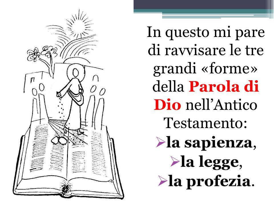 In questo mi pare di ravvisare le tre grandi «forme» della Parola di Dio nellAntico Testamento: la sapienza, la legge, la profezia.