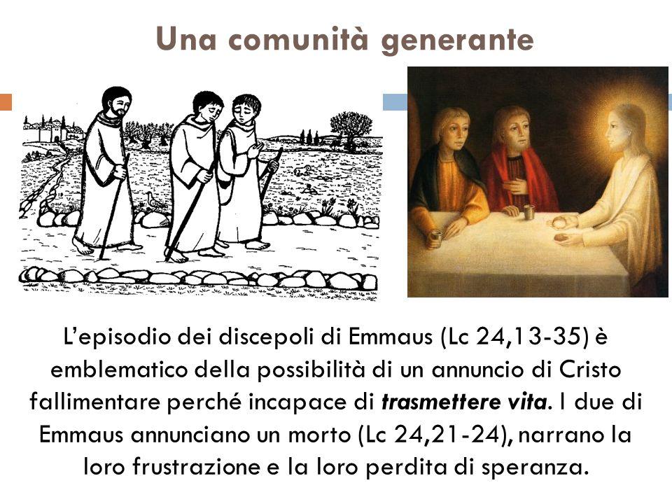 Una comunità generante Lepisodio dei discepoli di Emmaus (Lc 24,13-35) è emblematico della possibilità di un annuncio di Cristo fallimentare perché i