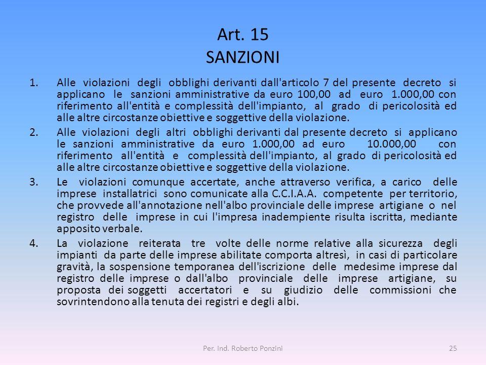 Art. 15 SANZIONI 1.Alle violazioni degli obblighi derivanti dall'articolo 7 del presente decreto si applicano le sanzioni amministrative da euro 100,0