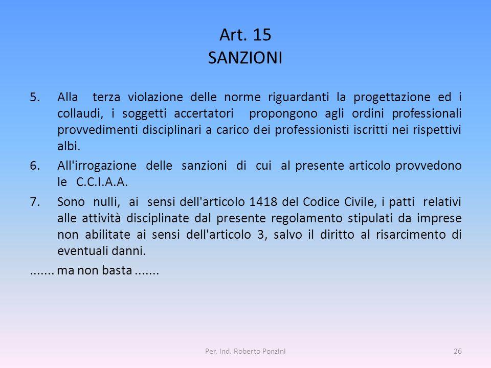 Art. 15 SANZIONI 5.Alla terza violazione delle norme riguardanti la progettazione ed i collaudi, i soggetti accertatori propongono agli ordini profess