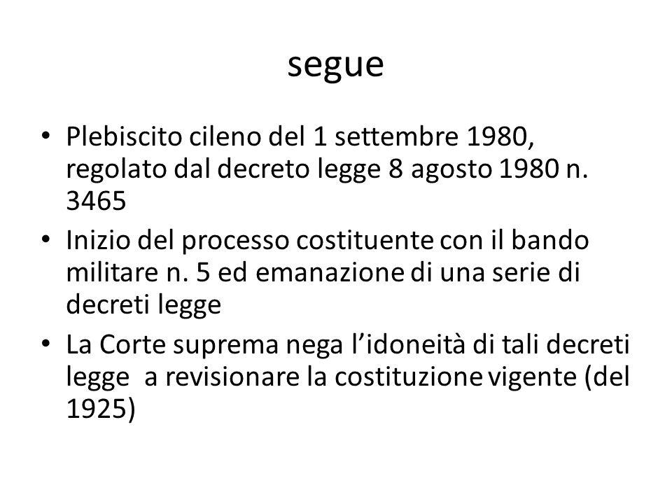 segue Plebiscito cileno del 1 settembre 1980, regolato dal decreto legge 8 agosto 1980 n. 3465 Inizio del processo costituente con il bando militare n