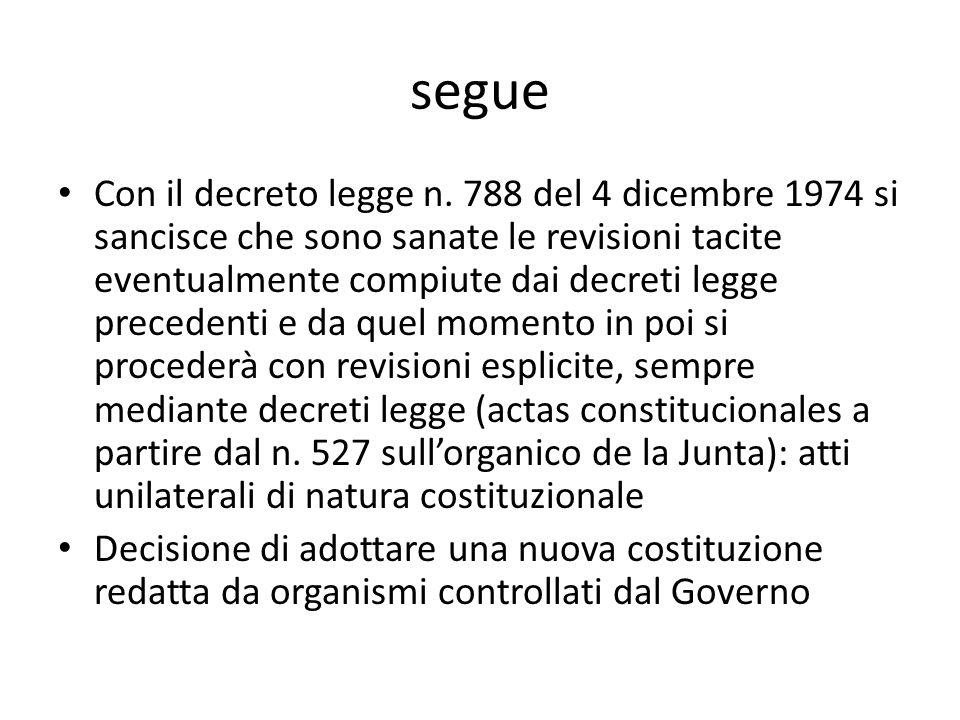 segue Con il decreto legge n. 788 del 4 dicembre 1974 si sancisce che sono sanate le revisioni tacite eventualmente compiute dai decreti legge precede