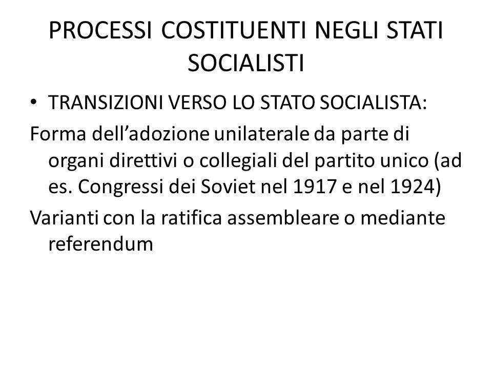 PROCESSI COSTITUENTI NEGLI STATI SOCIALISTI TRANSIZIONI VERSO LO STATO SOCIALISTA: Forma delladozione unilaterale da parte di organi direttivi o colle