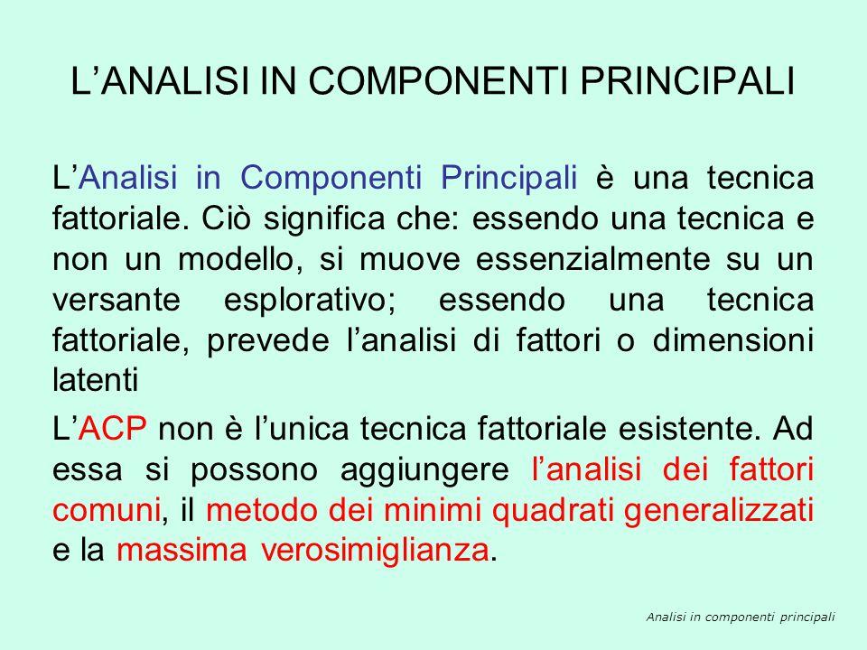 LANALISI IN COMPONENTI PRINCIPALI Analisi in componenti principali LAnalisi in Componenti Principali è una tecnica fattoriale. Ciò significa che: esse