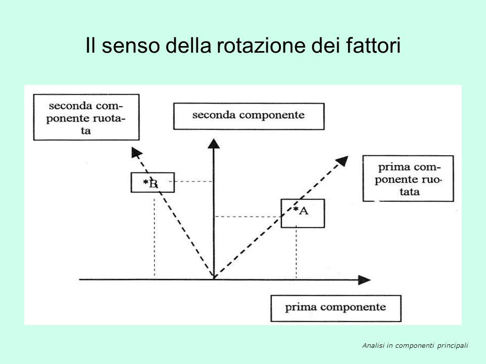Il senso della rotazione dei fattori Analisi in componenti principali